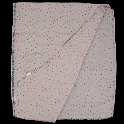 Hartford - Dots Elouan Scarf in Beige & Wine with Navy Edging Embroidery
