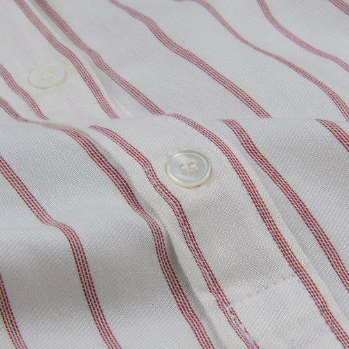 Fine Stripe Cody Shirt in Red on Raw