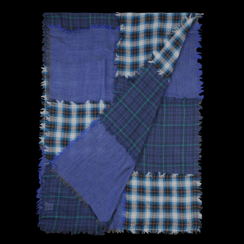 Patchwork Elysee Scarf in Blue green & Grey Check