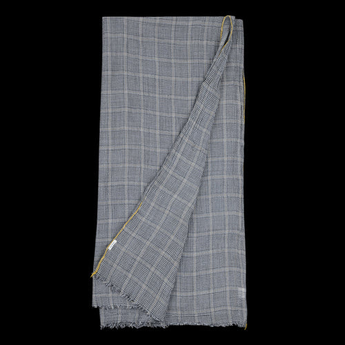 Prince de Galles Check Ethan Scarf in Grey with Yellow Edging