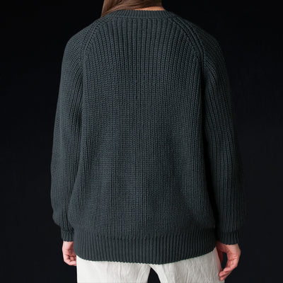 Toujours - Rib Stitch Crew Neck Pullover in Ink Black