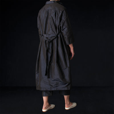 Toujours - Silk Chambray Taffeta Oversized Wrap Coat in Navy