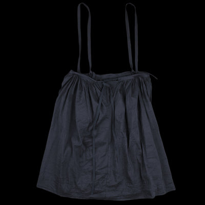 Toujours - Washed Linen Silk Chambray Drawstring Suspender Skirt in Navy
