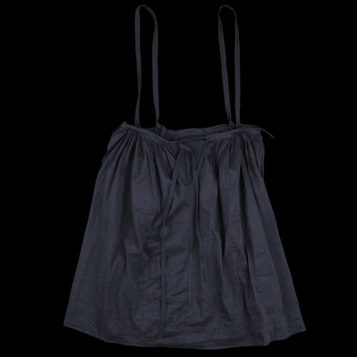 Washed Linen Silk Chambray Drawstring Suspender Skirt in Navy
