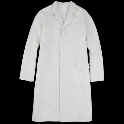 Toujours - Cotton Ramie Gaberdine Chesterfield Coat in Dusty White