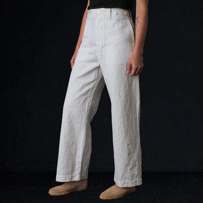 Toujours - Cotton Ramie Gaberdine Waist Overall in Dusty White