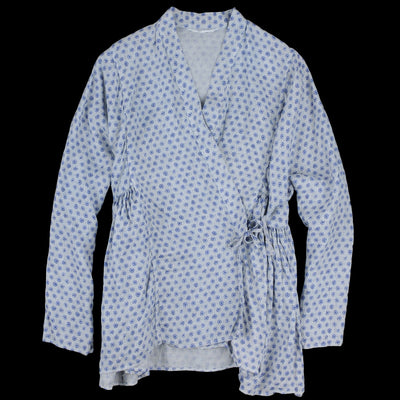 Toujours - Natural Overdye Block Print Linen Kediya Jacket in White Indigo