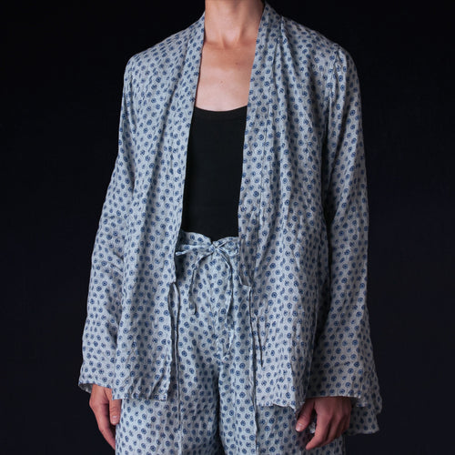 Natural Overdye Block Print Linen Kediya Jacket in White Indigo