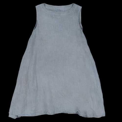 Natural Overdye Soft Linen Flared Tank Dress in Light Greyish Indigo