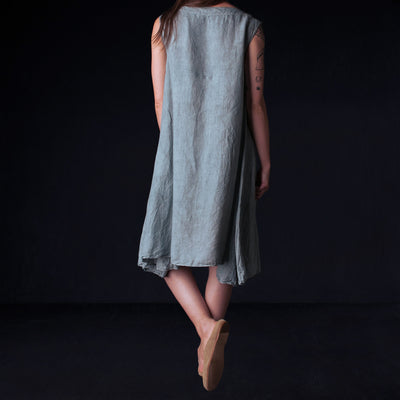 Toujours - Natural Overdye Soft Linen Flared Tank Dress in Light Greyish Indigo