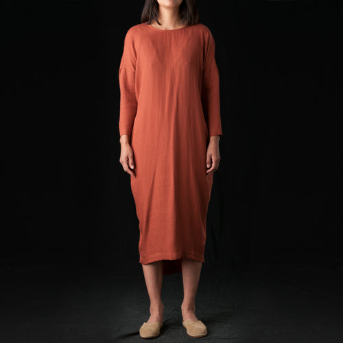 Pleated Cocoon Dress in Brick