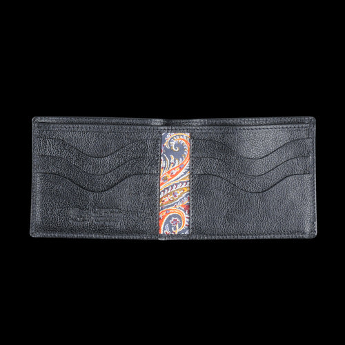 Liberty Bi-fold Wallet in Nero with Stra Lining