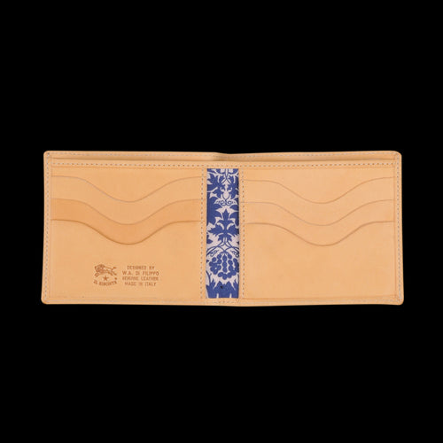Liberty Bi-Fold Wallet in Naturale with Mor Lining