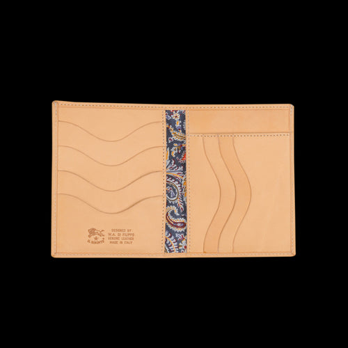 Liberty Vertical Bi-Fold Wallet in Naturale with Fel Lining