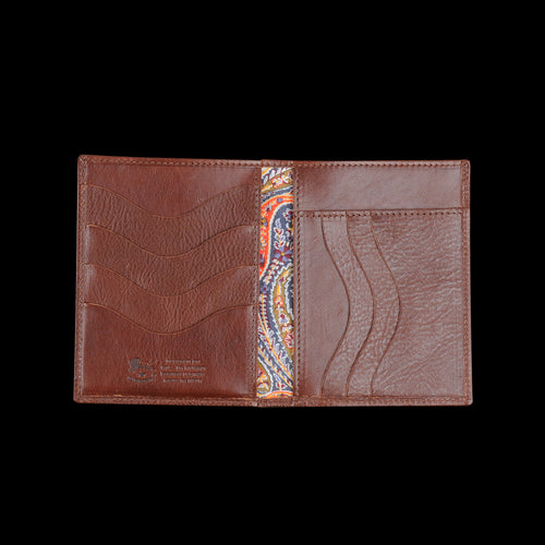 Liberty Vertical Bi-Fold Wallet in Marrone with Fel Lining