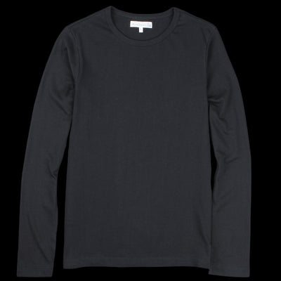 Merz B. Schwanen - 1950's Crew Neck Long Sleeve Tee in Deep Black