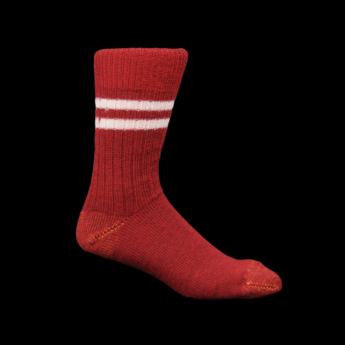 New Wool Striped Sock in Dark Red & Nature
