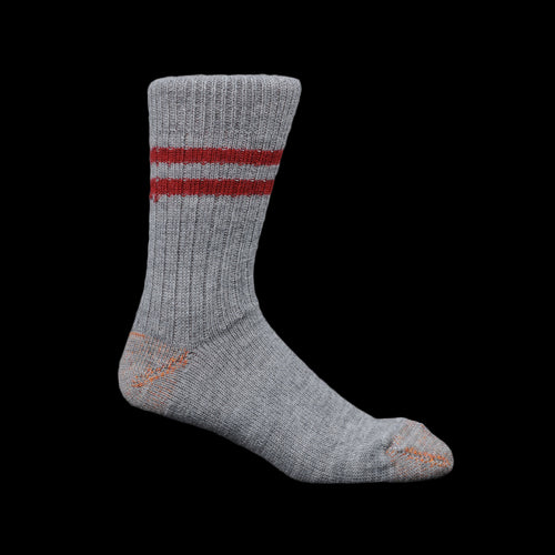 New Wool Striped Sock in Grey Melange & Dark Red
