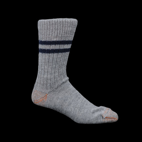 New Wool Striped Sock in Grey Melange & Ink Blue