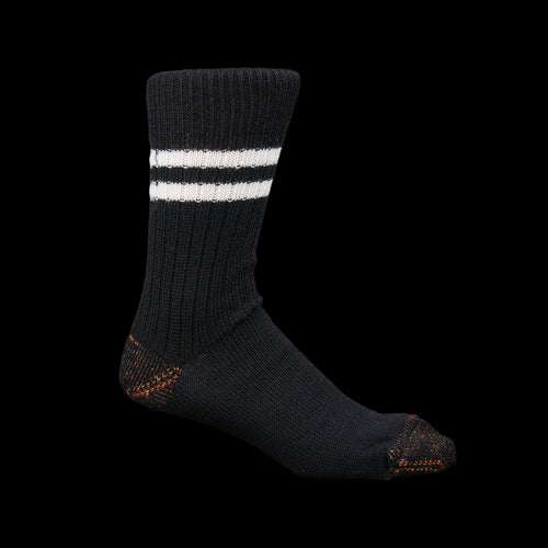 New Wool Striped Sock in Deep Black & Nature