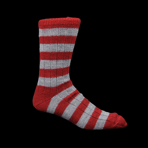 New Wool Striped Sock in Dark Red & Grey Melange