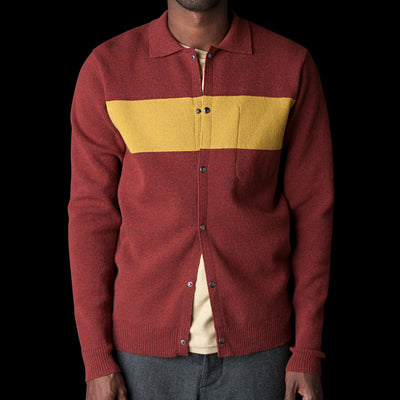 Oliver Spencer - Roxwell Knitted Jacket in Swinden Red & Yellow