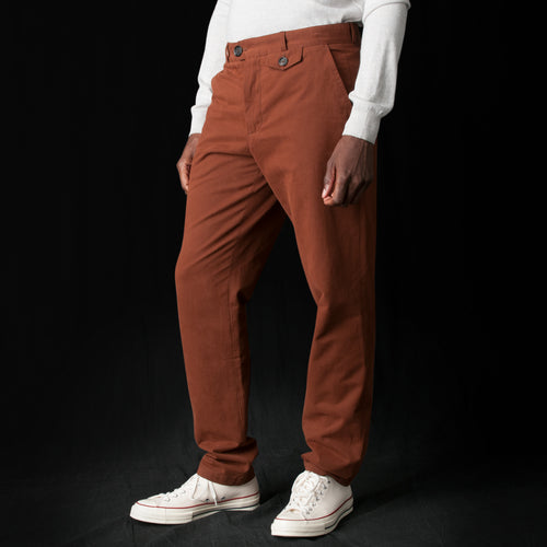 Fishtail Trouser in Cheviot Rust