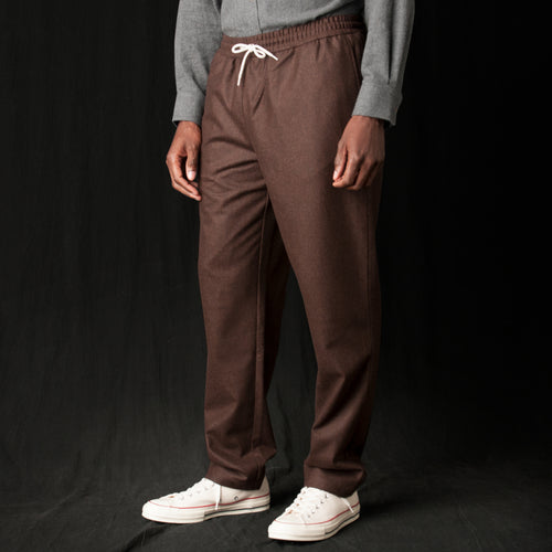 Wool Flannel Relaxed Trouser in Chestnut