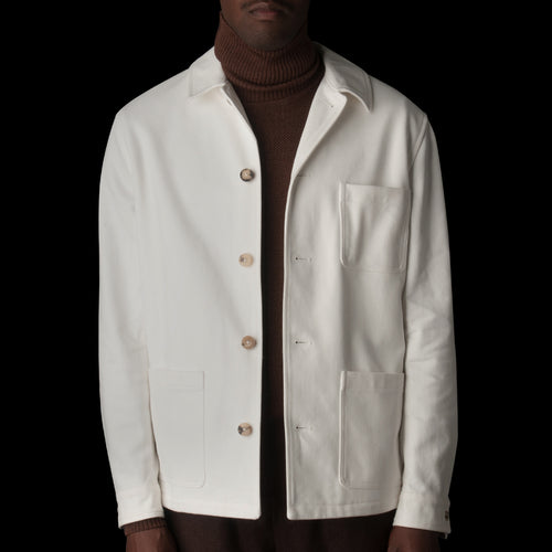 English Cotton Twill Work Jacket in Undyed White
