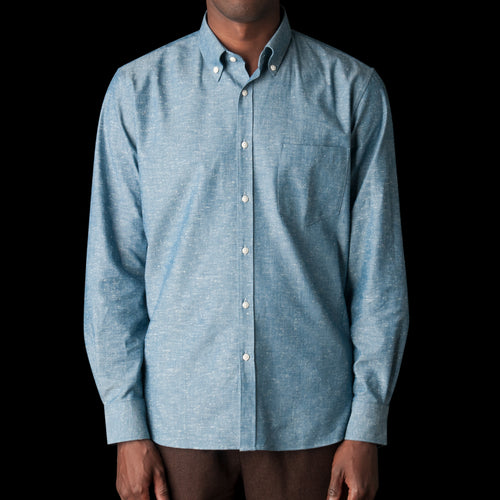 Japanese Slubbed Chambray Button Down Shirt in Denim Blue