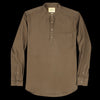 De Bonne Facture - Japanese Brushed Cotton Flannel Grandad Collar Popover in Khaki Green