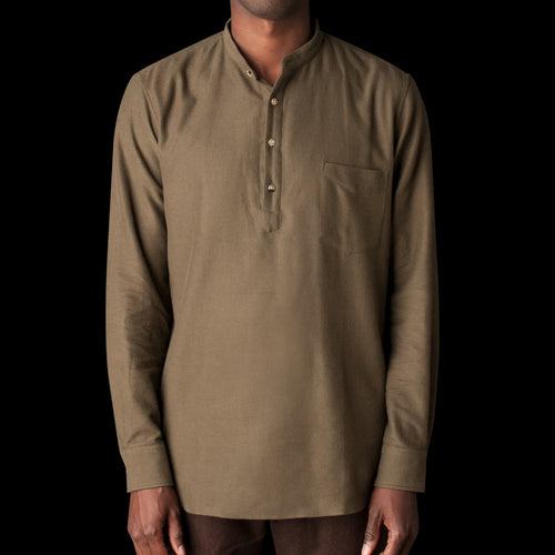 Japanese Brushed Cotton Flannel Grandad Collar Popover in Khaki Green