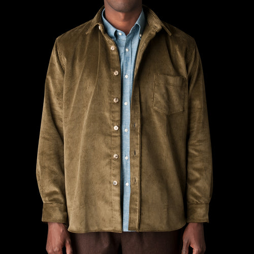 English Wide Wale Corduroy Oversized Overshirt in Olive
