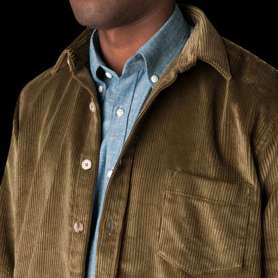 De Bonne Facture - English Wide Wale Corduroy Oversized Overshirt in Olive