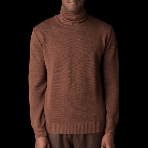 Italian Soft Wool Yarn Turtleneck Piqué Sweater in Chestnut
