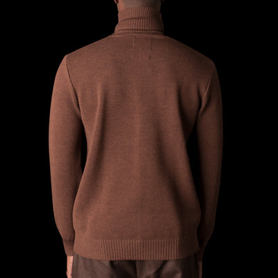 De Bonne Facture - Italian Soft Wool Yarn Turtleneck Piqué Sweater in Chestnut