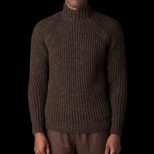 Scottish Undyed Wool Yarn English Rib Crewneck Sweater in Chocolate