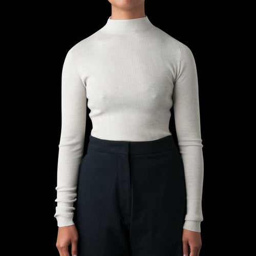 Sanctuary Fine Gauge Mock Neck Knit in Putty