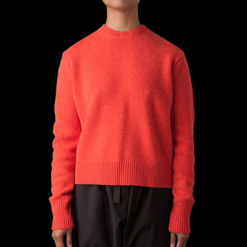 Sebbi English Lambswool Five Gauge Crew Neck in Tomato Melange
