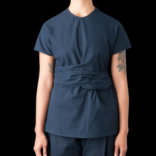 Corsa Wool Twill Twist Tie Top in Dark Navy