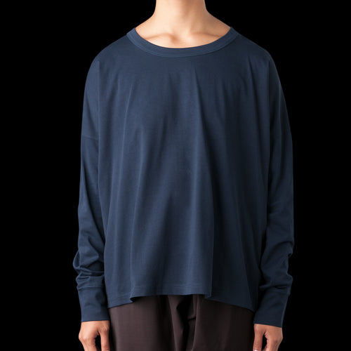 Loop Mercerized Cotton Long Sleeve Volume Tee in Dark Navy