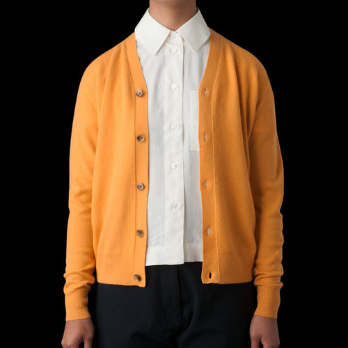 Santo M Wool Cashmere High Neck Cardigan in Mustard