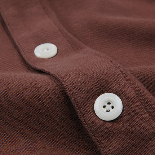 Long Sleeve Placket Polo in Hickory
