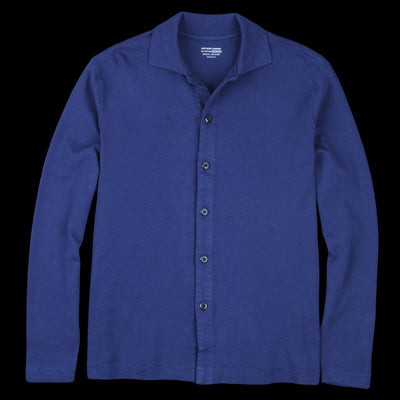 Lady White Co. - Long Sleeve Placket Polo in Victoria Blue