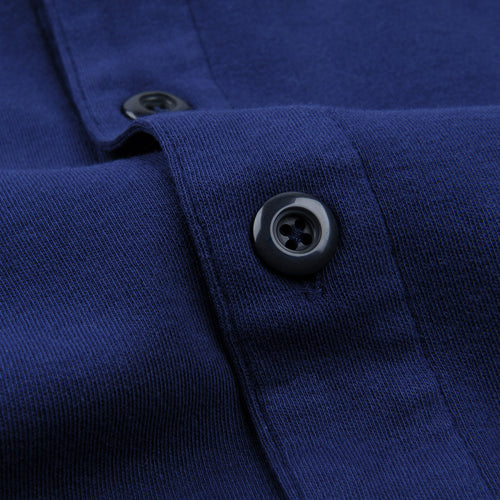 Long Sleeve Placket Polo in Victoria Blue