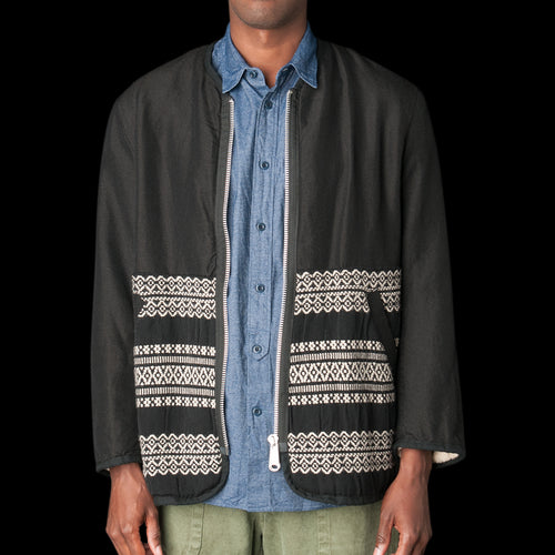 Wool Linen Jacket in Black