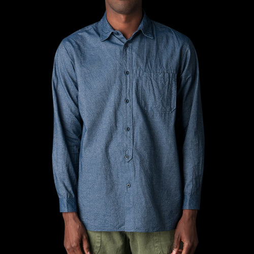 Cotton Shirt in Ink Blue