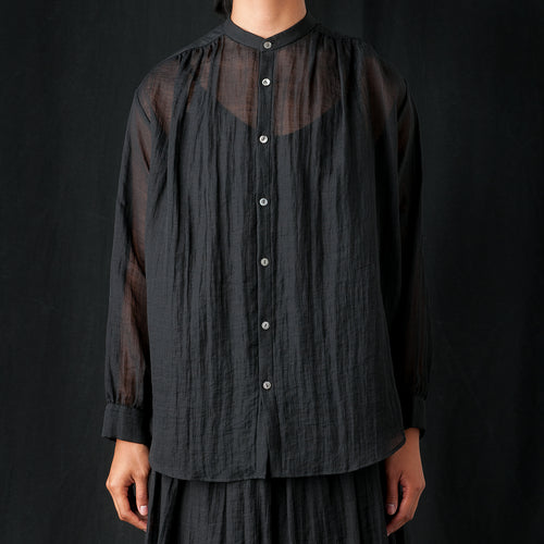 Gathered Ramie Blouse in Black