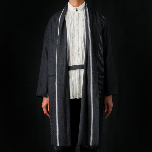 Stripe Blanket Coat in Charcoal