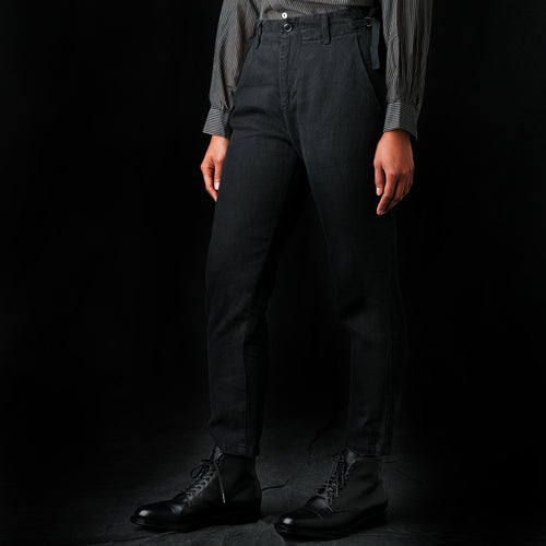 Denim-Weight Linen Pant in Charcoal
